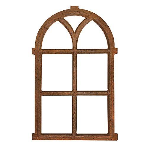 zeitzone Stallfenster Gusseisen Antik-Stil Rostig Rundbogen Nostalgie Fensterrahmen 67cm