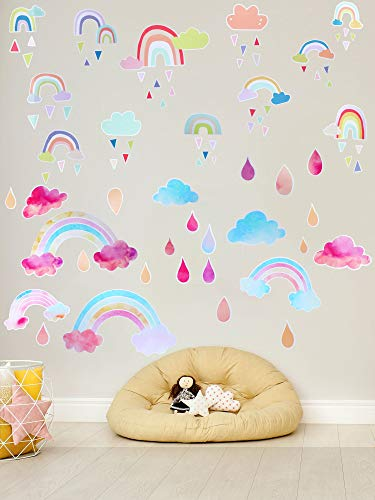 2 Sheet Rainbow Wall Sticker Decals, Cute Rainbow Cloud Raindrop Watercolor, Children's Room Living Room Bedroom Family Colorful Stickers, Removable DIY Mural Artist Home Decoration