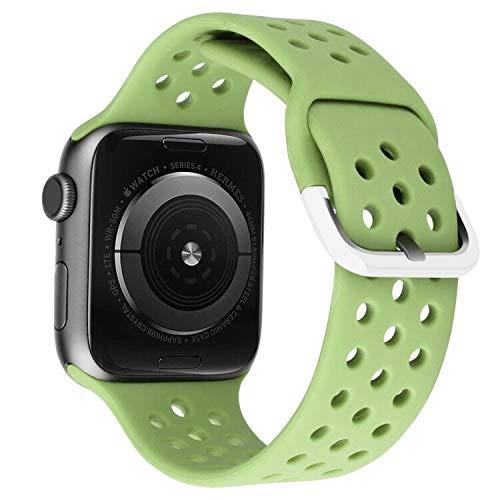 MroTech Correa Compatible para iWatch 40mm 38mm Watch Band Correas de Reloj Silicona Suave Banda Deporte de Reemplazo Pulseras de Repuesto para iWatch Series 6/SE 5 4 3 2 1 38/40 mm Verde