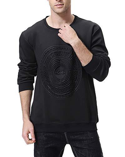 Sudaderas Hombre Jersey Suelto Camiseta Cuello Redondo Manga Larga T-Shirt Negro L