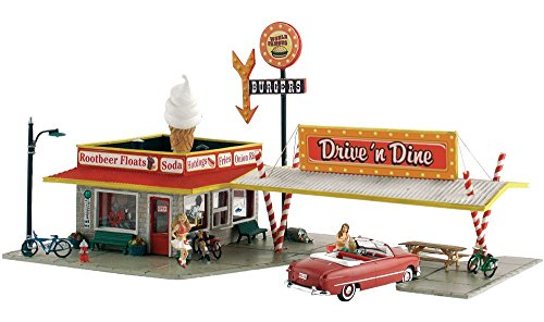 Drive 'N' Dine Soda Shop Built-N-Ready N Scale Woodland Scenics