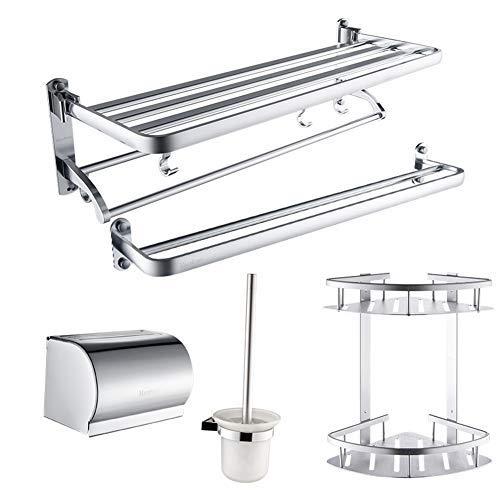 TTFFTT - Toallero, cepillo de baño, doble capa, triángulo, cesta de tela, toallero, 5 piezas, accesorios de baño, color plateado