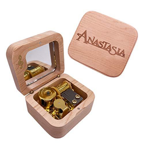 CLeader Caja de música Anastasia Anastasia Mini caja musical de madera con espejo grabado vintage regalos musicales para niños niños niñas mujeres anastasia fans (arce)
