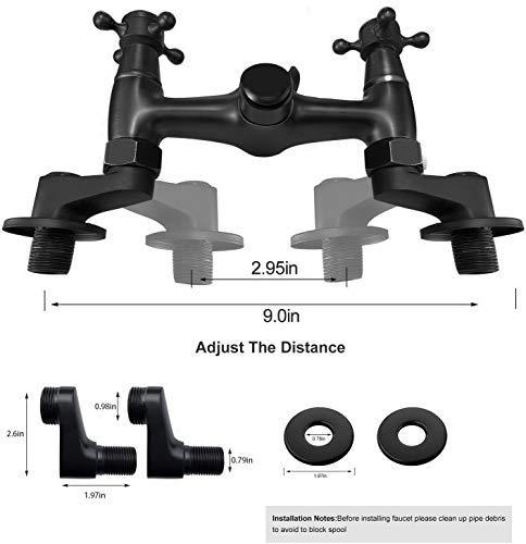 Matte Black Wall Mount Kitchen Sink Faucet 6 Inch Center Mixer Tap 360 Degree Swivel Spout Double Cross Handle