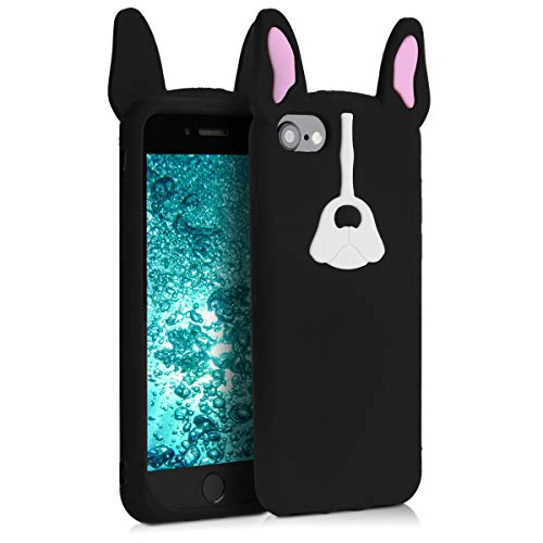 kwmobile Apple iPhone 7/8 Hülle - Handyhülle für Apple iPhone 7/8 - Handy Case Cover Silikon Schutzhülle - Bulldogge Design Weiß Rosa Schwarz