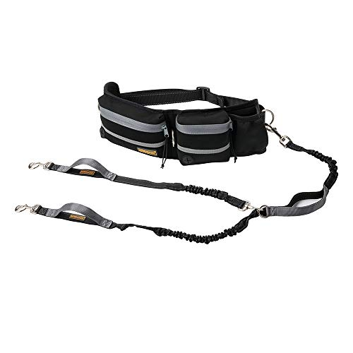 "Hands Free Dog Leash, Dog Walking and Training Belt with Shock Absorbing Bungee Leash for up to 180lbs Large Dogs, Phone Pocket and Water Bottle Holder, Fits All Waist Sizes From 28"" to 48"""