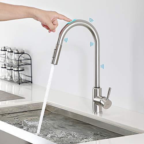 Lonheo Touch Sensor Wasserhahn Küche ausziehbar mit 2 Strahlarten, Edelstahl Einhand-Küchenarmatur mit 360° Schwenkfunktion, Einhebelmischer Spültischarmatur Mischbatterie Hochdruck-Armatur für Küche