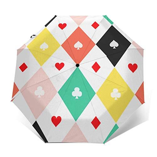 Parapluie Pliant, Parapluie Pliable Automatique Ouverture et Fermeture Résistant à Tempête Compact Léger Parapluie De Voyage pour Homme et Femme Échiquier de Costumes de Cirque
