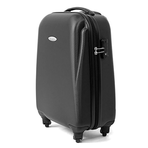 MasterGear Hand Luggage with ABS Hard Shell – Carry On Suitcase – Cabin Luggage with 4 Spinner Wheels (360 degrees) and Combination Padlock