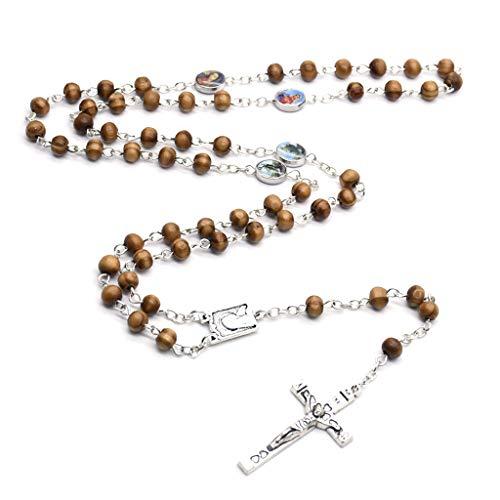 Wr Rosario de Madera Redondo Hecho a Mano, crucifijo, Collar de Jesús religioso, encantos de joyería de Yoga para Hombres y Mujeres Cristianos