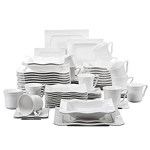 MALACASA, Série Mario, 60pcs Services de Table Complets Porcelaine, 12 Tasses, 12 Soucoupe, 12 Assiettes à Dessert, 12 Assiettes à Soupe, 12 Assiettes Plates pour 12 Personnes