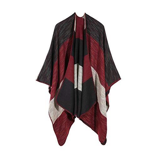 FRAUIT Damen Winter Gestrickte Kaschmir Poncho Capes Schal Cardigans Pullover Mantel