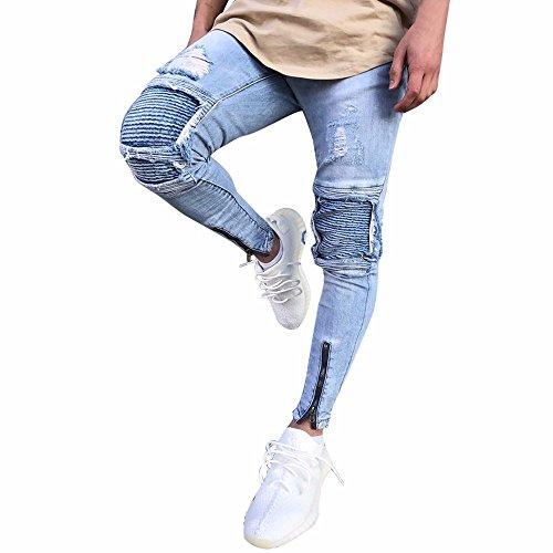 Herren Hose Ronamick Männer Zerrissene Slim Fit Motorrad Vintage Denim Jeans Hiphop Streetwear Hosen Freizeithose SporthoseJogginghose (Blau, 32)