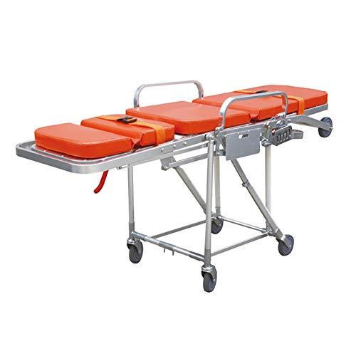 WSN Medical Rescue Notfalltrage, Aluminium Klappbahre Krankenwagen Feuerwehrmann Evakuierung Treppenstuhl Kann 160 kg Keilwagen Silber tragen
