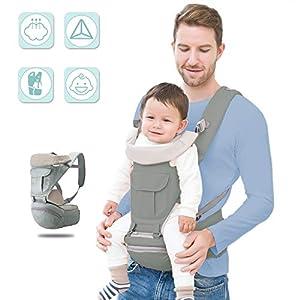 Mochilas Portabebé Ergonómico Transpirable Portabebe Multifuncional Ajustable con Asiento para recién nacidos y bebés(3…