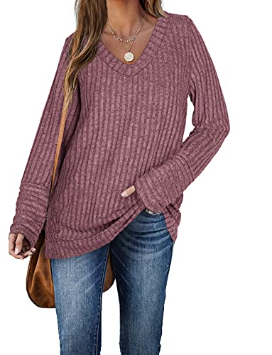 Aokosor Womens Long Sleeve Tops V Neck Jumpers Solid Color Sweatshirts Pink...