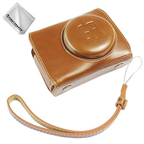 First2savv Braun Premium Qualität Ganzkörper- präzise Passform PU-Leder Ricoh GR3 Kameratasche Fall Tasche Cover mit Kamera-Schultergurt für Ricoh GR III