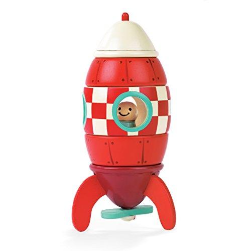 Janod - J05207 - Cohete para montar con 5 piezas magnéticas de madera, color rojo, 16 cm, juego de...
