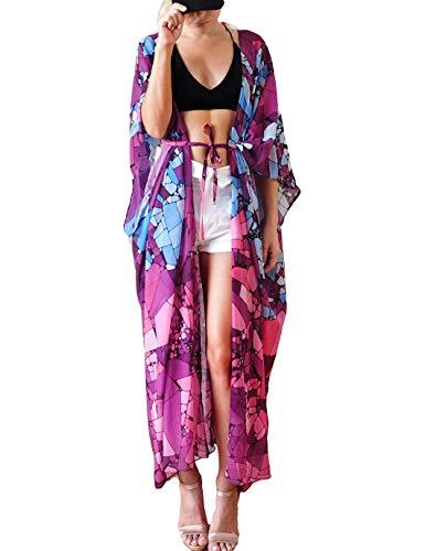 Eddoyee Print Long Kimono Swimsuit Cover Ups for Women Open Front Beach Cardigan with Belt