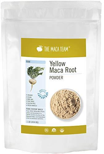 Rohes gelbes Maca Wurzel Pulver – 454g – bio- zertifiziert, frische Ernte aus Peru, Fair Trade, gentechnikfrei, glutenfrei, vegan, 50 Portionen