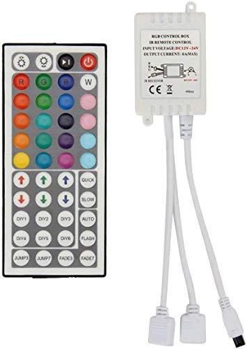 VIPMOON 44 teclas de control remoto inalámbrico por infrarrojos con receptor para tira de luz LED RGB 3528 5050 - Salidas dobles