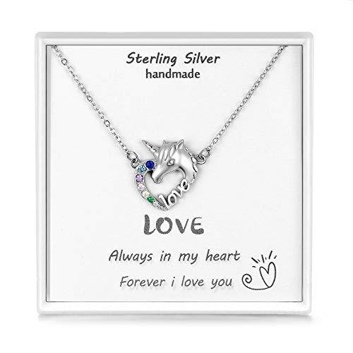 Qings Collares de Unicornio Niña Plata de Ley 925 BFF Collar de la Amistad Colgante Corazón con Multicolor Circonita Cúbica Pegaso Caballo 45CM