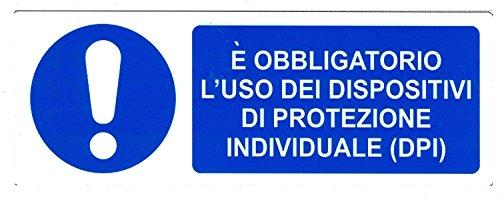 CARTELLONISTICA ADESIVA SICUREZZA DEL LAVORO'E' OBBLIGATORIO L'USO DEI DISPOSITIVI DI PROTEZIONE INDIVIDUALE (DPI)' (22x8 CM)