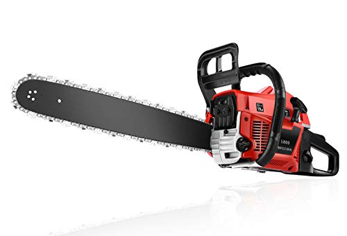 58CC Gas Powered Chainsaw, 2-Stroke Handheld Petrol Gasoline Chain Saw with 20 Inch Guide Board and Tool Kit for Cutting Trees, Wood(Red)