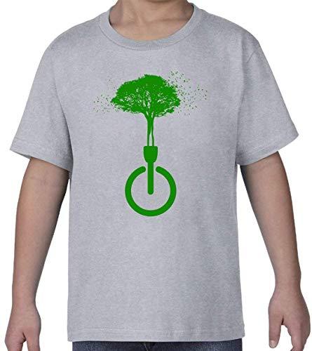 Dissconnect Green Nature Forest Birds Hippie Art Gris Kids Crew Neck T-Shirt M
