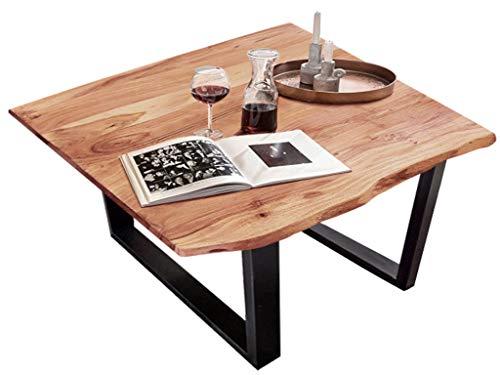 SAM Esszimmertisch 90x90 cm Quinn, echte Baumkante, naturfarben, massiver Esstisch aus Akazienholz, Metallbeine Schwarz, Baumkantentisch