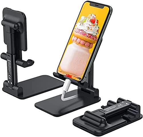 M2-Tec Soporte plegable para teléfono móvil, soporte de escritorio, soporte para teléfono móvil, soporte multiángulo, compatible con iPhone 12/12 Pro Max/12 Mini/11 Pro, X, 8, SE, Samsung