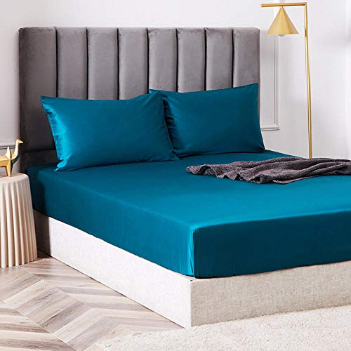 N / A Luxurious Hotel Quality Fitted Sheet,King size bed sheet single cotton silk satin sheet bed cover non-slip mattress protector for double king-blue_2_180cmx200cm*40cm