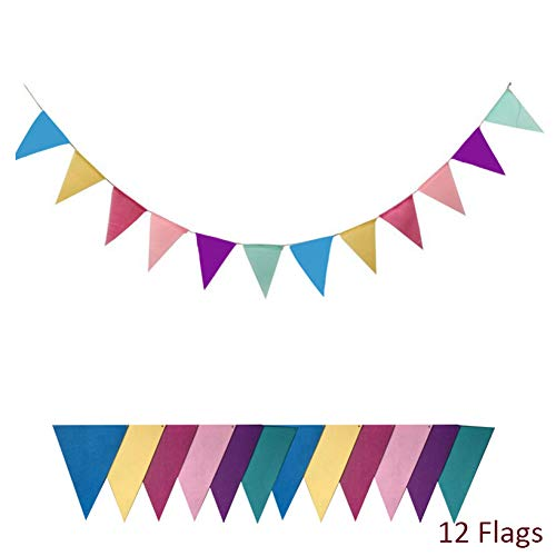 MENGYUE Bunting Banner 12 Flags Non-Woven Fabric Cloth Banners Wedding Bunting Decor Birthday Baby Shower Garland Tent Birthday Decoration