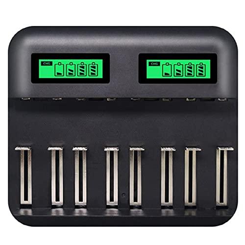 Cargador de batería inteligente LCD multifuncional de ocho ranuras para baterías recargables de 1.2V AA/AAA/C tamaño/D tamaño NI-MH/NI-CD