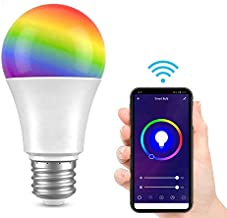 Saska Smart LED Bulb E27 WIFI Control Color Adjustable Light Works with Amazon Alexa/Google Home RGB+CW+WW 9W