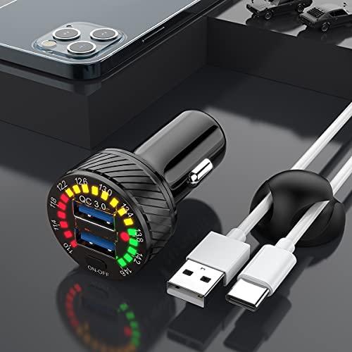 Cargador de Coche USB y Cable USB Tipo C y Clip de Cable [Puerto QC3.0 Doble] Adaptador de Cargador de Coche rápido de 36 W / 6A Mini Cargador USB de Encendedor de Cigarrillos Carga rápida 3.0