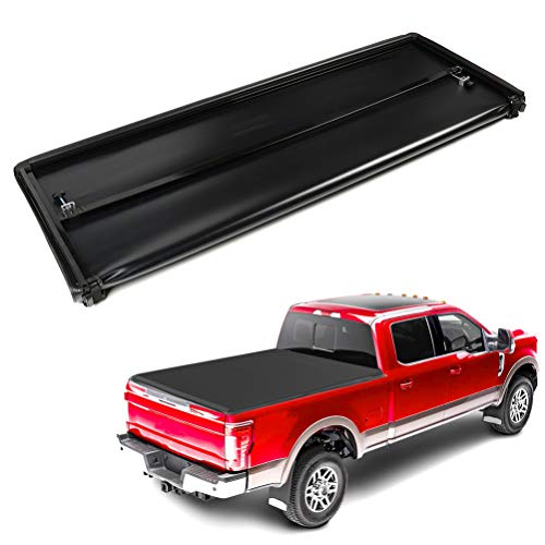 ECCPP Hard Tri-Fold Truck Bed Tonneau Cover fit for Nissan Frontier 2005-2018 | Fits 5FT Truck Bed | LED Lamp | No-drill Install,Black