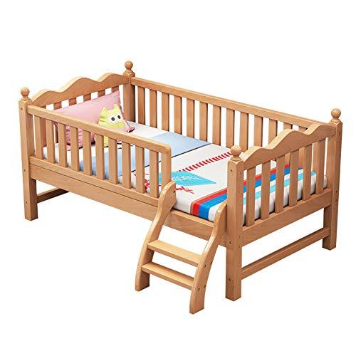HBIAO Cama para niños Cama de Madera Maciza para niños con barandilla Niño Madera de Haya Ampliada Mesita de Noche para bebé Cama pequeña Costura Grande,150 * 80 * 40