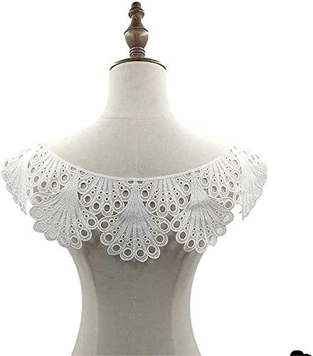 XinYiC Encaje apliques flor espalda cuello escote ajuste bordado costura artesanía boda...