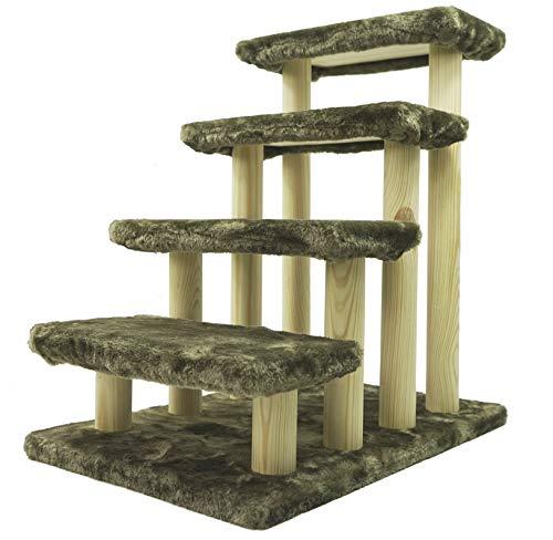 HAIBEIR Escalera para mascotas de madera 4 pasos escalera para mascotas gato perro escaleras fáciles con alfombra desmontable para cama alta y sofá (verde)