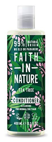 Faith in Nature Natürlicher Teebaum Conditioner, Vegan & Ohne Tierversuche, Frei von Parabenen und SLS, für Normales bis Öliges Haar, 400 ml