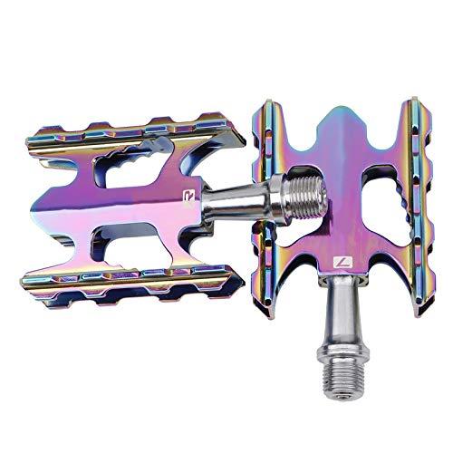 QDY-Pedales de Bicicleta, Plegables de Aleación de Aluminio Ultraligeros Pedales de Bike de Montaña con Cojinetes Ligeros,Color