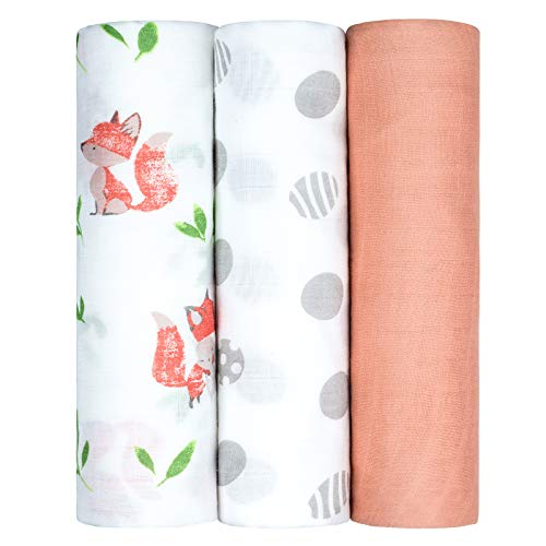 Muslin Swaddle Blankets, Unisex Baby Swaddle Blanket for Newborn Boy Girl, Nursery Swaddling Blankets, 3 Pack Neutral Bamboo Organic Cotton Receiving Swaddle, 47 x 47 Inches