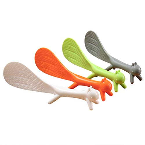 Rice Spoon, Hosuho 2 Pcs Lovely Squirrel Shape Standing Plastic Rice Spoons, Random Color Non-Stick Rice Spoon Household Kitchen Service Tools