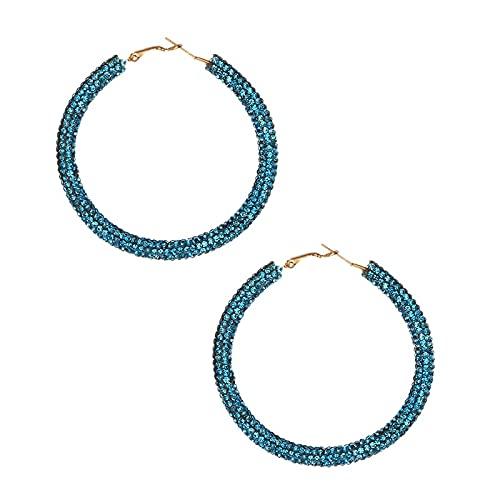 yuese Pendientes étnicos de aro para mujer, color amarillo, cristal hueco, círculo, joyería de regalo para boda (color metálico: azul cristalino)