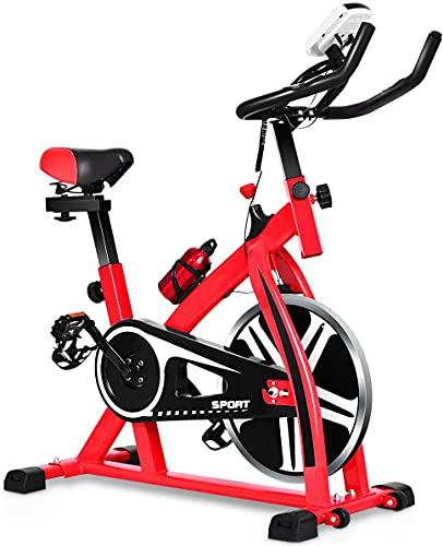 WYLX Bicicleta Estática De Interior Spinning Máquina De Correr, Soportar Peso 150KG Bicicleta Estática Profesional Volante De Inercia De 6 Kg Rojo