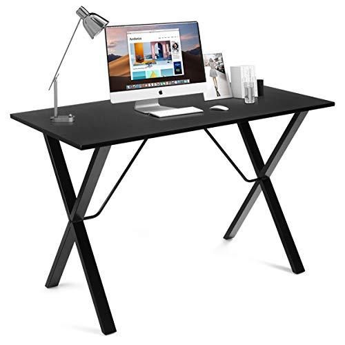 Tangkula 47.5 Inches Computer Desk, Modern Versatile Writing Desk with Bamboo Wood Top & X-Shape Metal Frame, Computer Workstation Study Writing Table Home Office Desk (Black)