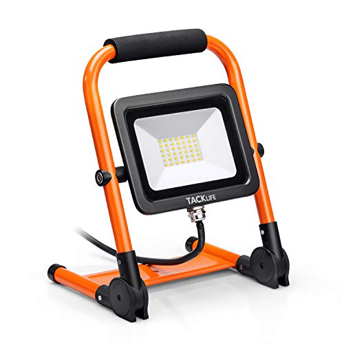 TACKLIFE Foco led portátil, 30W, 2400LM, con soporte plegable,rotación 360, impermeable IP65, cable de 3 m