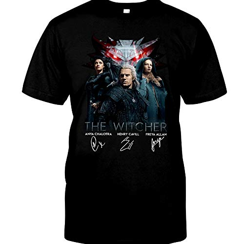 The #Witcher cast Signed Henry-Cavill Anya-Chalotra Freya-Allan Funny Gift for Men Women Girls Unisex T-Shirt (Black-XL)