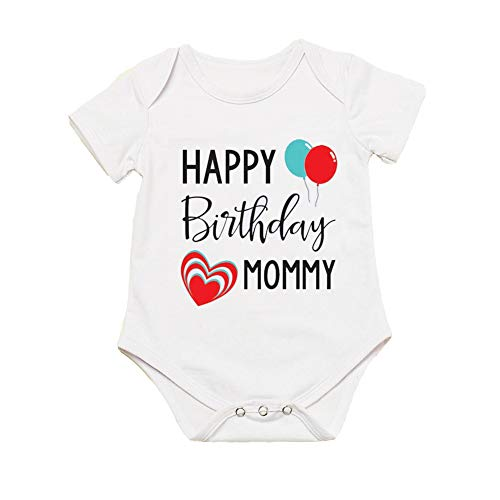 G-Amber Happy Birthday Mommy Baby Boys Girls Romper Bodysuit Infant Funny Jumpsuit Outfit 9-12Months